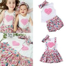 Girls 3 pieces 3D Flowers White Top + Skirt/Pants + Headband outfit Size 00-5Y