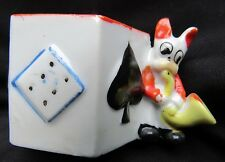 Vintage Made in Japan Card Table Match Toothpick Holder Spades w Sax Playing Dog