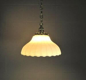 Pendant Ceiling Fixture Cased Milk Glass Fluted Swirl Shade  Vintage Restored