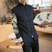 Mens Cotton Coat Tang Suit Chinese Blazer Jacket Embroidery Slim Tunic S-4XL