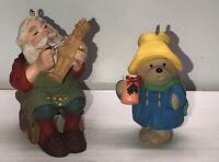 Vintage Christmas Ornaments (2) Santa Carving Toy Soldier & Paddington Bear