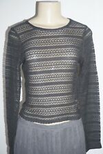 NWT HOLLISTER WOMENS DARK CHARCOAL GREY SHADY CANYON SLIM LACE CROP TOP BLOUSE L