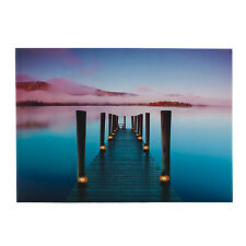 PIER IN THE SUNSET TEAL BROWN LED LIGHT UP CANVAS PICTURE WALL ART 50cm x 70cm