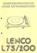 Lenco Service Manual für L 75-200