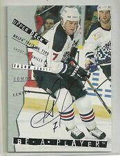 1995 Be A Player Hockey Jason Arnott On Card Autograph Card # 110