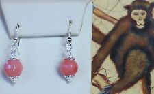 NEW STERLING SILVER GENUINE PINK JADE EARRINGS 10MM EXCELLENT COLOR !