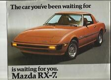 MAZDA RX7 GS, S AND GS AUTOMATIC 'SALES BROCHURE'/SHEET LATE 70's  USA MARKET