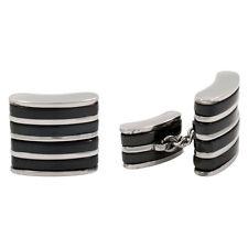 STEEL & Black Titanium Cufflinks Chain Cuff Links NEW B