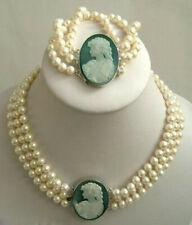 3 Rows 7-8mm White Pearl Necklace Cameo Clasp Bracelet AA+