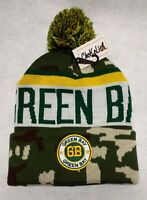 Green Bay Packers Camouflage  Team Color Landmark Patch  Pom Pom Knit Beanie Hat
