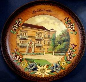 Vintage continental hand painting on a round wooden wall hanging plaque