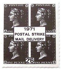 Great Britain 1971 - Postal Strike Rouletted 2s6d black (Block of 4 1d blacks)