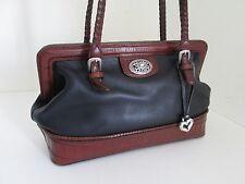 Authentic BRIGHTON Black/Brown Leather Mock Croc Doctor Shoulder Bag footed
