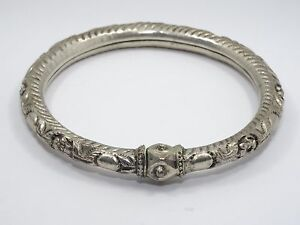 ANTIQUE CHINESE QING SILVER REPOUSSE FLORAL LOTUS WEDDING BRACELET 老銀手鐲
