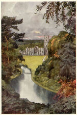 Fountains Abbey Yorkshire G. Home mounted print 1908