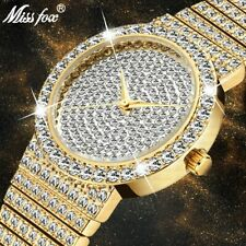 MISSFOX Brand Unique Watch Men 7mm Ultra Thin 30M Water Resistant Iced Out Round