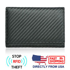 RFID Blocking Men's Trifold Carbon Fiber Leather Safety Purse Credit Card Wallet
