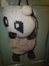 River Island Bag, 2.look amazing hand knitted panda/teddybear backpack w leather