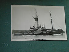 VINTAGE HMS RECOVERY EX ROLLICKER ROVER CLASS TUG - ROYAL NAVY RP POSTCARD