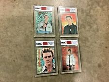 Justin Timberlake set of 4 different Worn Shirt Swatch Cards, Free shipping!