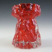 Ingrid/Ingridglas 1970's Red Glass Bark Textured Vase