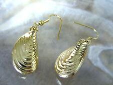 Muschel Miesmuschel Ohrringe Ohrhänger Earrings Gold Optik mit Fischhaken