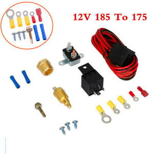 Electric Fan Wiring Harness Kit 12V 185 Degree Thermostat 60 Amp Relay For Car
