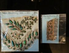 Antique 19th Century Indian Beetle Wing  and gold work Samples