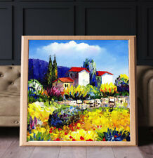 Country Flower Cottage Landscape Oil Painting Cavans Prints Wall Art A2 Framed