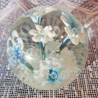"""Lovely Clear Glass/Acrylic Paper weight, Blue & White Flowers, 2 1/2"""" High"""