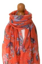 LADIES ORANGE SCATTERED FEATHERS  PRINT FEATHER  PRINT SCARF GREAT GIFT IDEA