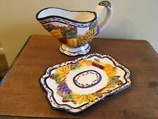 Bella Casa Gray Boat and Plate by Ganz pumpkins indian corn Fall colors