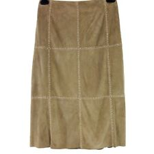 Riani Ladies Skirt 38 Brown Leather Suede A-shape Decorative Seem NP 599