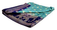 Vtg Saree Indian Art Silk Woven Zari Brocade Hand Beaded Banarasi Fabric Green