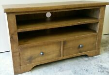 SOLID WOODEN TV STAND CABINET ENTERTAINMENT UNIT RUSTIC PLANK PINE FURNITURE New