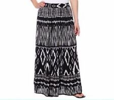NWT CHAUDRY WOMEN'S LONG LENGTH PULL ON SKIRT SMALL BLACK/WHT
