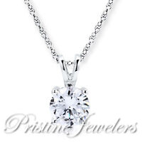 🔥 NEW Solid 925 Sterling Silver White Solitaire Pendant & Necklace Chain Womens