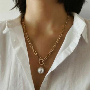 Women Wedding Punk Gold Long Chain Gothic Baroque Pearl Pendant Choker Necklace