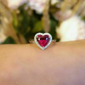 3 CT Halo Heart Ruby And Diamond Womens Engagement Ring In 14k White Gold Finish