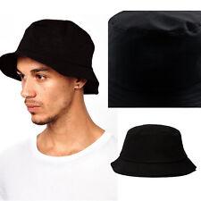 Plain Unisex Adults Bucket Hat -Solid Color,Cotton,Black
