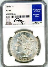 1878 S $1 Morgan Silver Dollar MS63 NGC Ed Moy Signed