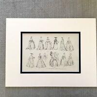 1900 Antico Moda Stampa Storico Costume Donna Abito Attraverso The Età