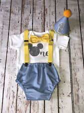Baby Boy 1st Birthday Cake Smash Prop  Mickey Mouse Blue Outfit Handmade
