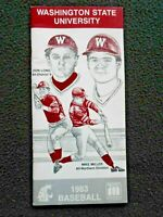 1983 Washington State University Baseball Handbook, Schedules & Players (Exc)