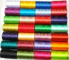 30 x Spools of sewing machine silk art embroidery threads, 30 Different Colours