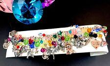 Fabuloso Firmado 925 Sterling & Latón Multicolor Perle Cristal 30 Pulsera