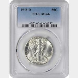 "1945-D WALKING LIBERTY HALF DOLLAR PCGS MS- 66 ""GORGEOUS"""