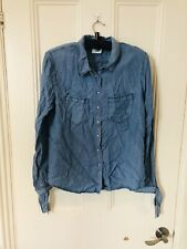Denim Shirt Tie Cuffs Size XL BNWT Instinct Cotton Ladies Long Sleeve Blue