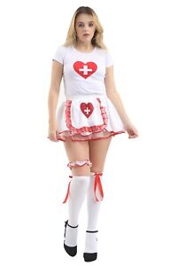 Ladies White Stretchy Top Nurse Heart Printed Vest Top Shirt Fancy Dress Outfit
