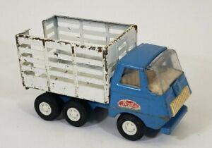 "Vintage TONKA 5"" Mini Farm Stake Truck Live Stock Cattle Rack Blue White Steel"